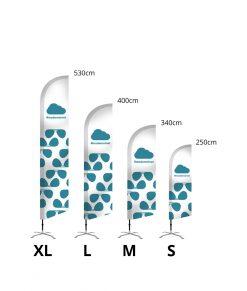 W.Label Beachflagga Standard svängd XL storlekar