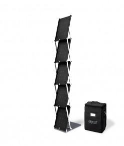 Expand BrochureStand svart broschyrställ a4 5st fack vikbart hopfällbart portabelt med bag mjuk väska