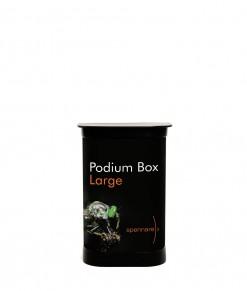 Spennare Podium Box Large med tryck. Mässdisk podium och transportbox i ett. Köp idag!