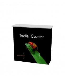 Portabel mässdisk Spennare Textile Counter S10 med tryck, toppskiva och hyllor. Beställ idag!