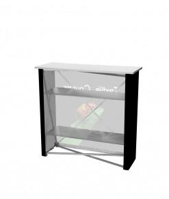 Baksida på mässdisk Spennare Textile Counter S10. Bra förvaring med hyllor.