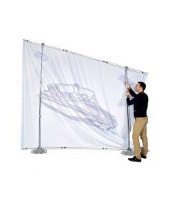 Enkel smidig montering av portabel mässvägg / montervägg i Expolinc Fabric System. Beställ idag!
